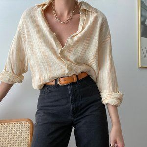 Vintage Tops - Slouchy Linen Summer Button Up Tunic